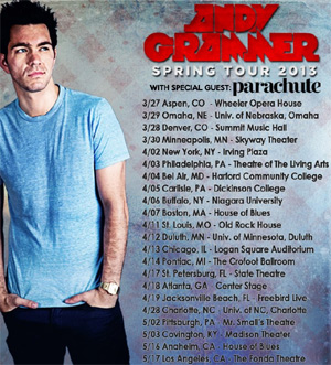 Andy Grammer Announces Spring 2013 Us Headlining Tour With Special Guest Parachute