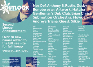 Outlook Festival Announces New Names For 2013 Including Mos Def, Bonobo, Dusky, Gentleman's Dub Club And More