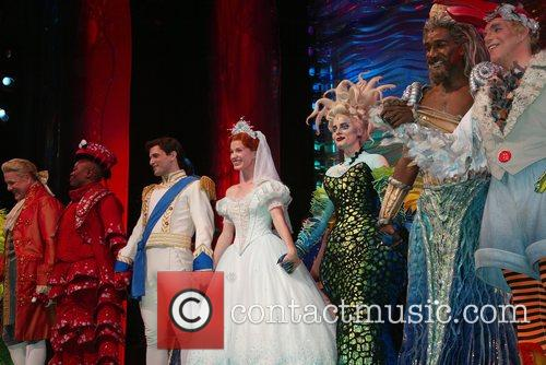 Jonathan Freeman, Tituss Burgess, Sean Palmer, Sierra Boggess, Sherie Rene Scott, Norm Lewis, Eddie Korbich and The Cast On Stage During The Curtain Call Following The Opening Night Performance Of The Little Mermaid At The Lunt Fontanne Theatre. 1