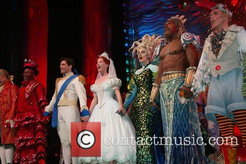 Jonathan Freeman, Tituss Burgess, Sean Palmer, Sierra Boggess, Sherie Rene Scott, Norm Lewis, Eddie Korbich and The Cast On Stage During The Curtain Call Following The Opening Night Performance Of The Little Mermaid At The Lunt Fontanne Theatre. 2