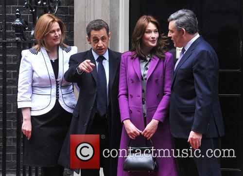 Sarah Brown, French President Nicolas Sarkozy, Carla Bruni, Prime Minister Gordon Brown and 10 Downing Street 2