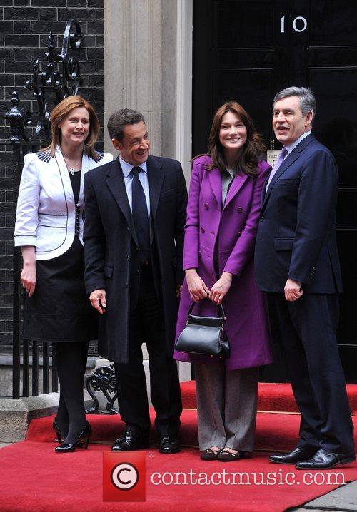 Sarah Brown, French President Nicolas Sarkozy, Carla Bruni, Prime Minister Gordon Brown and 10 Downing Street 1