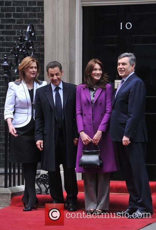 Sarah Brown, French President Nicolas Sarkozy, Carla Bruni, Prime Minister Gordon Brown and 10 Downing Street 3