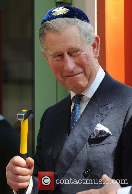 Prince Charles, Prince Of Wales, Wearing A Jewish Yarmulka and Smiles As He Opens The Krakow Jewish Community Centre