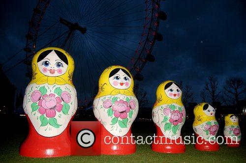 Life-size Russian Dolls On Display Outside The London Eye To Launch The Start Of Russian Fashion Week 2