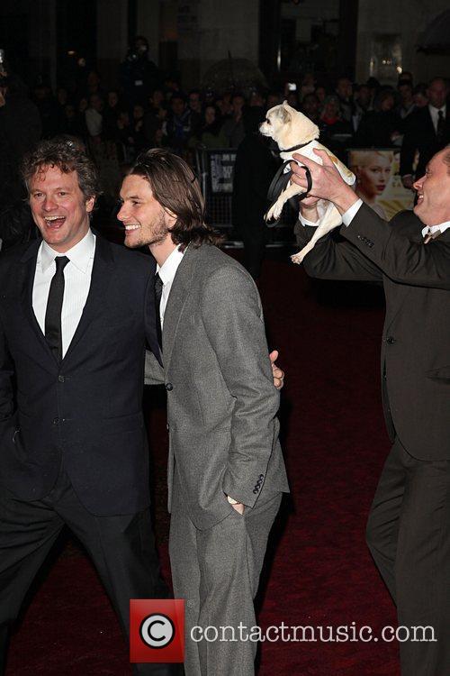 Colin Firth, Stephan Elliott and Fizz The Dog
