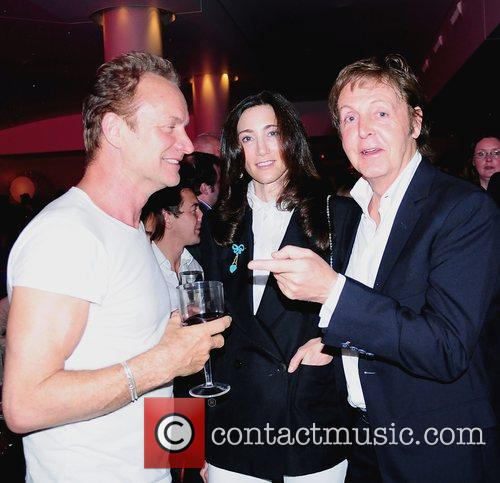 Sting, Nancy Shevell and Paul Mccartney