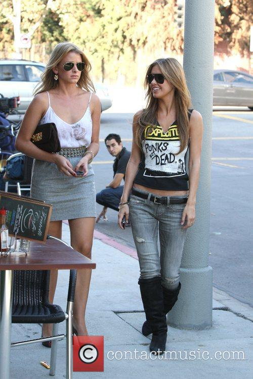Audrina Patridge and Lo Bosworth Film Scenes For The New Season Of 'the Hills' Outside Fratelli's Restaurant On Melrose Avenue