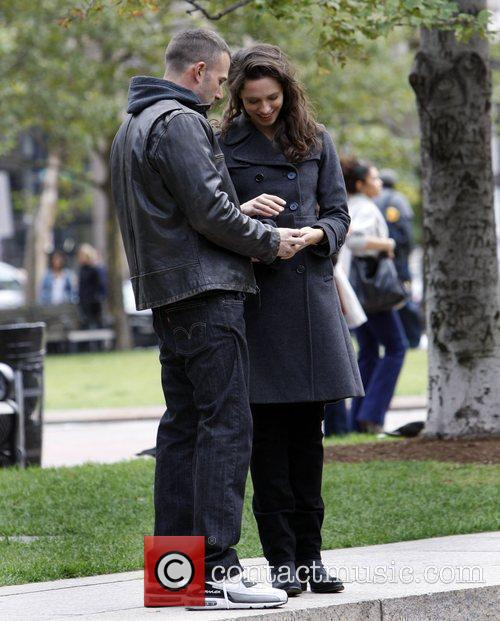 Ben Affleck and Rebecca Hall On The Set Of 'the Town' Filming In Copley Square 3