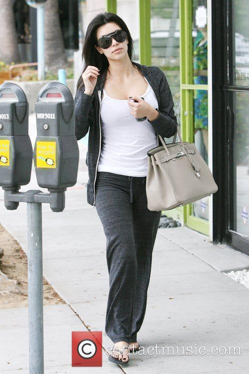 Kim Kardashian, Wearing Sweatpants and Picks Up Body Factory Smoothies In Beverly Hills