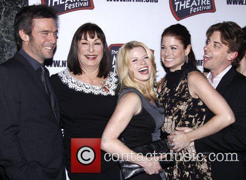 Jack Davenport, Anjelica Huston, Christian Borle, Debra Messing, Megan Hilty and The Hudson Theatre 4