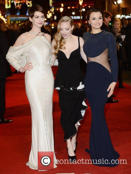 Anne Hathaway, Amanda Seyfried, Samantha Barks, Les Miserable, Odeon, Leicester Square, London and England