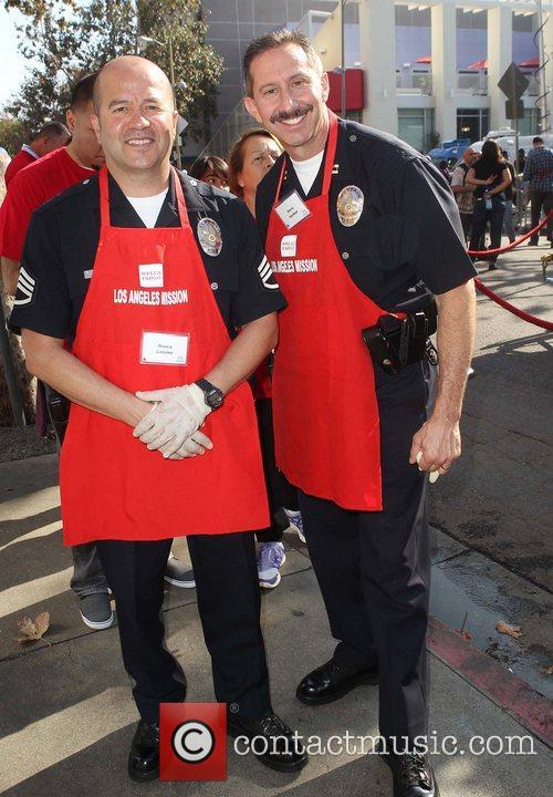 Officers Steve Sambar, Marco Lozano and Los Angeles Mission 5