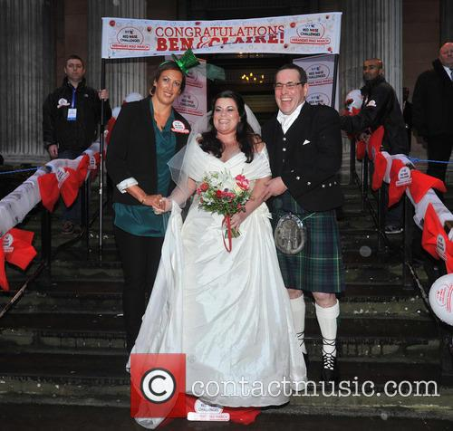 Bride Claire Gilchrist With Father and Miranda Hart 1