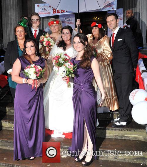 Miranda Hart, Tom Fletcher, Jennifer Saunders, Bride Claire Gilchrist, Dawn French and Harry Judd 2