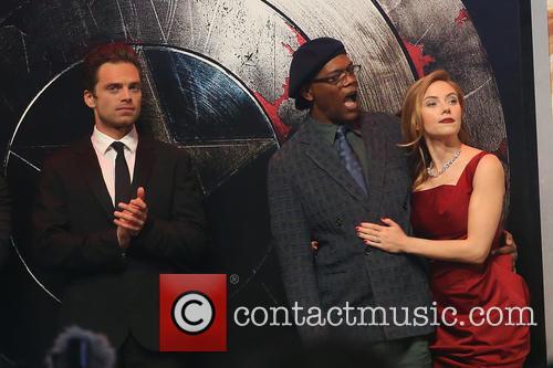 Sebastian Stan, Samuel L. Jackson and Scarlett Johansson