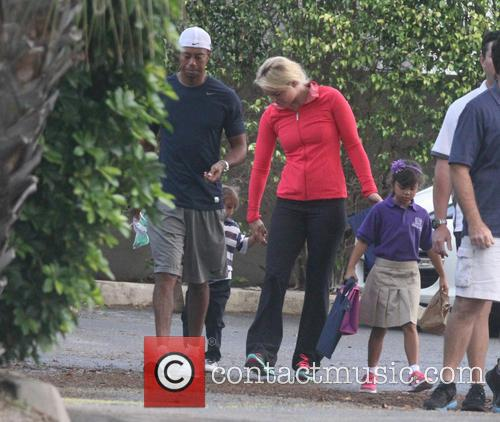 Tiger Woods, Lindsey Vonn, Sam Woods and Charlie Woods
