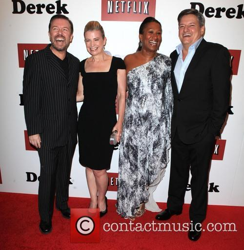 Ricky Gervais, Jane Fallon, Nicole Avant and Ted Sarandos