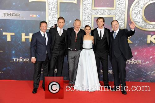 Louis D Esposito, Tom Hiddleston, Alan Taylor, Natalie Portman, Chris Hemsworth and Kevin Feige 2