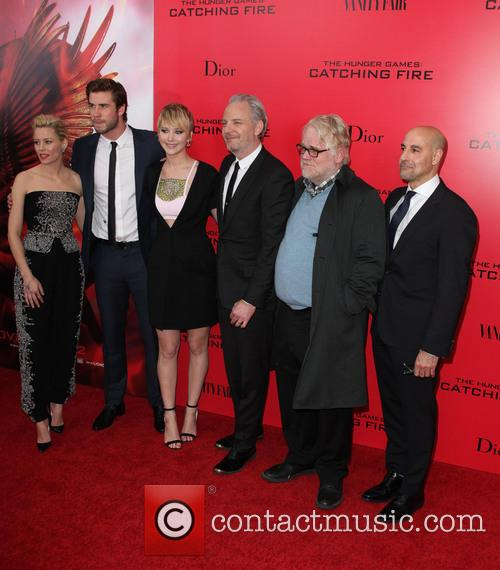 Elizabeth Banks, Liam Hemsworth, Jennifer Lawrence, Francis Lawrence, Philip Seymour Hoffman and Stanley Tucci