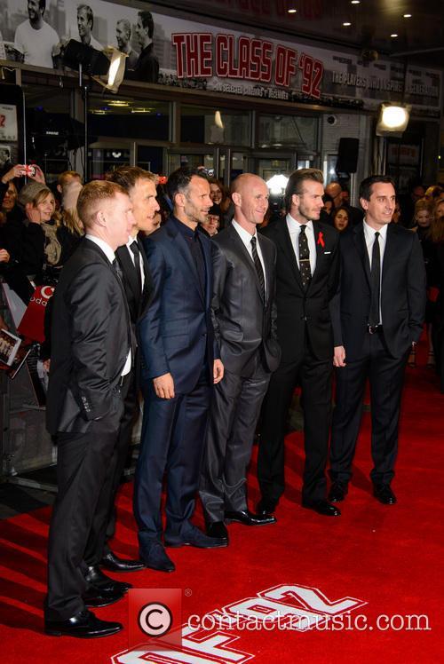 Paul Scholes, Phil Neville, Nicky Butt, Ryan Giggs, David Beckham and Gary Neville