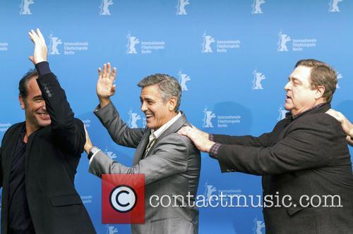 Jean Dujardin, George Clooney and John Goodman 1
