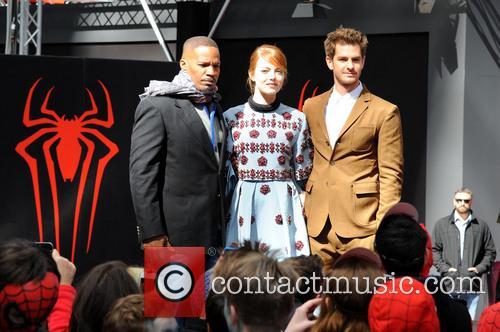 Jamie Foxx, Andrew Garfield and Emma Stone 8