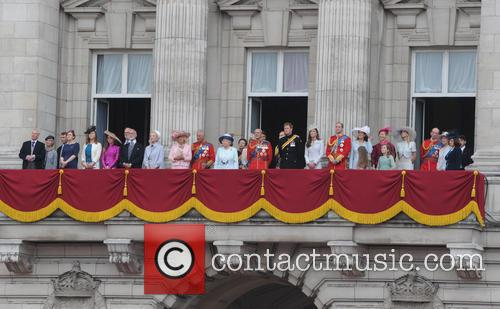 The Duchess Of Cornwall, Prince Charles, Princess Eugenie, Princess Anne, The Queen, Timothy Lawrence, The Countess Of Wessex, Prince Philip, Prince Edward and Prince Harry