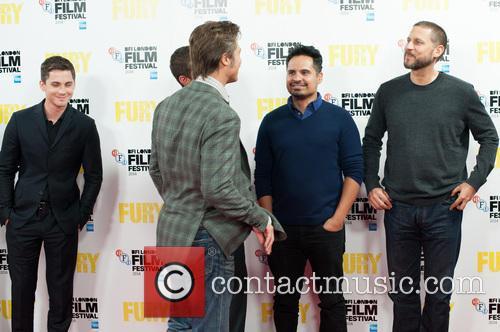 Logan Lerman, Brad Pitt, David Ayer and Michael Pena