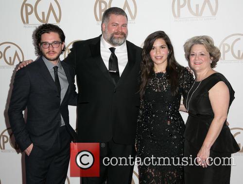 Kit Harrington, Dean Deblois, America Ferrera and Bonnie Arnold