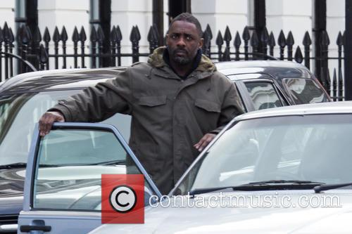Idris Elba on the set of 'Luther'