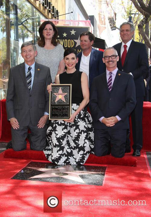 Leron Gubler, Maureen Schultz, Julianna Margulies, Michael J. Fox, Leslie Moonves and Mitch O'farrell