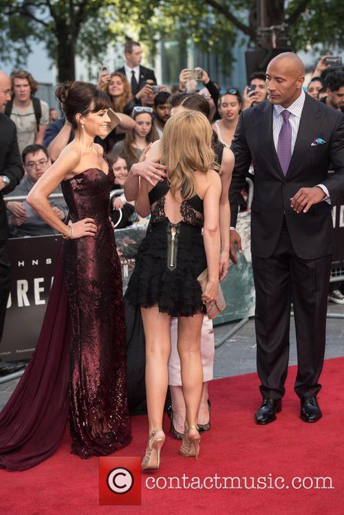 Kylie Minogue, Carla Gugino, Alexandra Daddario and Dwayne Johnson