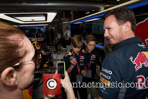 Romeo Beckham, Christian Horner and Louise Adams