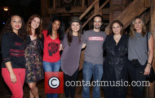 Jasmine Cephas Jones, Kate Walsh, Renee Elise Goldsberry, Phillipa Soo, Lin-manuel Miranda, Kathy Najimy and Jennifer Aniston 1