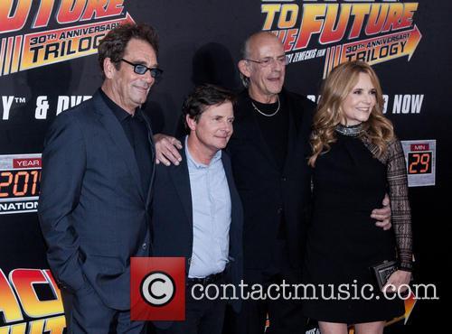Huey Lewis, Michael J. Fox, Christopher Lloyd and Lea Thompson 1