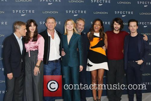 Monica Bellucci, Daniel Craig, Lea Seydoux, Naomie Harris, Christoph Waltz, Ben Whishaw, Dave Bautista, Andrew Scott and Sam Mendes 1
