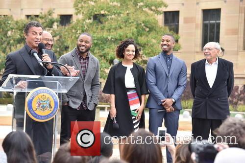 Sylvester Stallone, Mayor Michael Nutter, Ryan Coogler, Tessa Thompson, Michael B. Jordan and Irwin Winkler