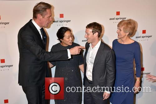 Mathias Doepfner, Priscilla Chan, Mark Zuckerberg and Friede Springer
