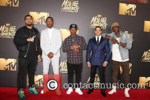 Actors O'shea Jackson Jr., Corey Hawkins, Common, Neil Brown Jr., Jason Mitchell and Aldis Hodge