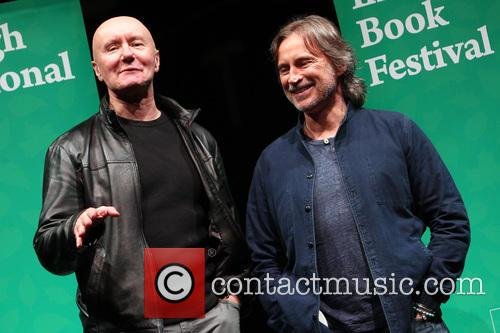 Irvine Welsh and Actor Robert Carlyle Pose For A Picture At The Usher Hall Edinburgh Ahead Of Them Taking Part In An Event At The Edinburgh International Book Festival.