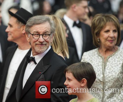 Mark Rylance, Steven Spielberg, Ruby Barnhill and Penelope Wilton