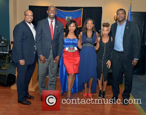 Justice, Saskya Sky, Haiti Minister Of Tourism Guy Didier Hyppolite, City Of Miramar Mayor Wayne Messam, City Of Miramar Commissioner Darline B. Riggs and Haiti Counsul Guy Francois Jr. 2
