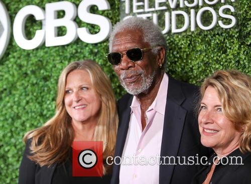 Morgan Freeman, (l-r) Producer Lori Mccreary, Writer Barbara Hall and Cbs 3