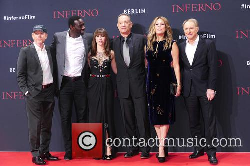Ron Howard, Omar Sy, Felicity Jones, Tom Hanks, Rita Wilson and Dan Brown