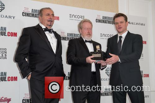 Andrea Boragno, Sir Ridley Scott and Matt Damon 1