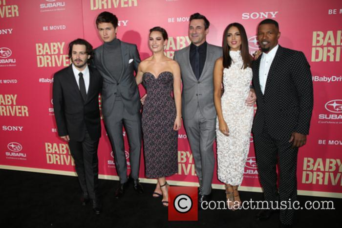 Edgar Wright, Ansel Elgort, Lily James, Jon Hamm, Eiza Gonzalez and Jaime Foxx 1