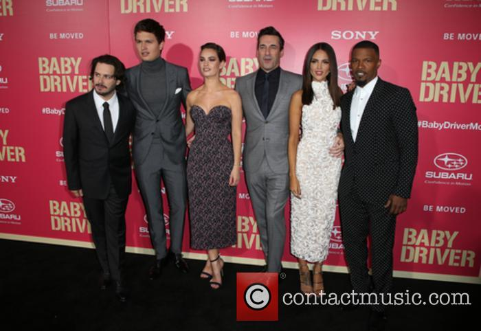 Edgar Wright, Ansel Elgort, Lily James, Jon Hamm, Eiza Gonzalez and Jaime Foxx 2