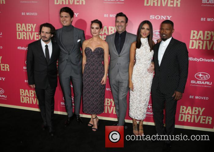 Edgar Wright, Ansel Elgort, Lily James, Jon Hamm, Eiza Gonzalez and Jaime Foxx 3