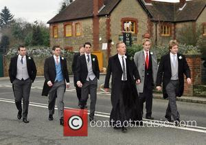Laurence Fox arriving at his wedding to Billie Piper with his ushers at the Parish Church of St. Mary in...